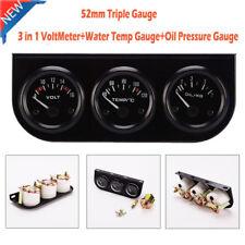 52mm Triple Gauge 3 in 1 Car Auto VoltMeter+Water Temp Gauge+Oil Pressure Gauge