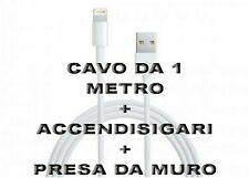 Kit Carica Batteria Auto Usb Per iPhone 6S 6 5S Plus iPod iPad Cavo 1M LightNing