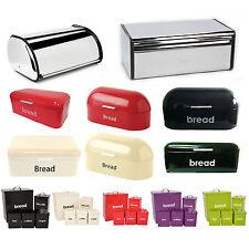 Kitchen Bread Bin Storage Loaf Roll Box Vintage Tea Coffee Sugar Jars Steel Tin