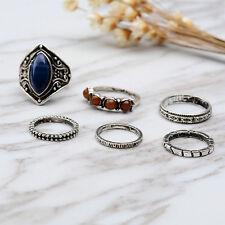 Vintage 6pcs/Set Midi Ring Boho Beach Tibetan Silver Rings Women Jewelry Gift