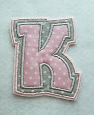Grey and Pink Letter K Monogram 3 1/2 inch  Iron on Embroidered Applique Patch