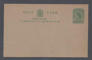 BASUTOLAND QEII THREE HALFPENCE POSTAL STATIONERY POST CARD  UNUSED