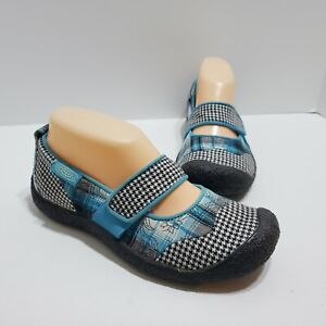 Keen Size 6 Women's (36) Mary Jane Multi Color Blue Slip On Plaid Houndstooth