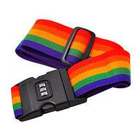 Travel Suitcase Luggage Secure Password Code Lock Rainbow Belt Strap Band Hot