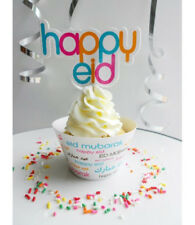 Happy Eid Mubarak Font Cupcake Wrapper and Topper (pack of 8)