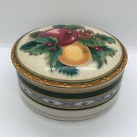 Vintage Mikasa Orchard Fruit Round Porcelain Jewelry Trinket Box UT098/683 Japan
