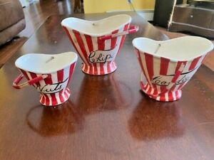 Davar Original Candies Nuts Chips Ceramic Baskets, Japan, Red Striped 1950's