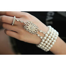 Ring Bridal Charleston Accessories Gift 1920's Great Gatsby Daisy Pearl Bracelet