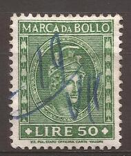 1959 REPUBBLICA MARCA L. 50 DEA ROMA TESTA GRANDE ANNULLATA A PENNA E PERFETTA