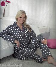 Schöner Flanell Damen Schlafanzug Pyjama, in 2 Farben, allover Druck,Größen S-XL