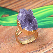 1x Natural Amethyst Quartz Druzy Clusters Crystals Reiki Adjustable Finger Ring