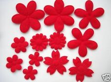 60 Mix 6 Design Felt Flower Daisy Big Small Applique/Christmas/Trim/bow H198-Red