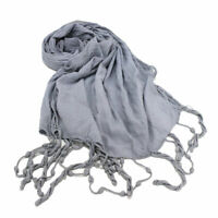 Sciarpa unisex uomo donna tinta unita 100% cotone pashmina frange estiva grigio