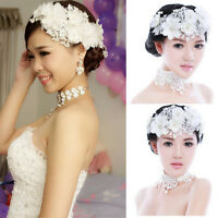 Handmade Tiara Wedding Bridal Floral Lace Pearl Headpiece Hairpin Prom Party
