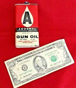 Vtg. ANDEROL Gun Oil Tin, Handy Oiler, Oil Can, Guns Rifles Pistols Outstanding!
