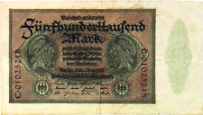 1923 Germany Weimar Republic 500.000 Mark Banknote