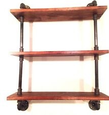 """Industrial Urban Pipe Three Tier 1""""x12"""" shelf (Pick your own stain)"""