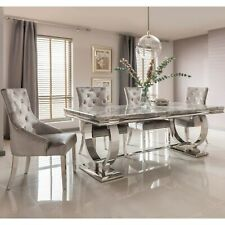 The Arianna Grey Marble Dining set with 4/6 Knocker Back Dining Chairs (180 CM)