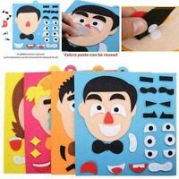 Kindergarten Children DIY Puzzle Game Toys Pupils Facial Expressio Stickers Y8K9