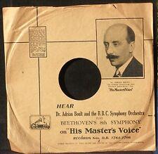 Pochette 78 trs / 78 RPM HMV Beethoven Boult EX