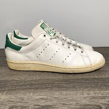 VTG 80s Adidas Stan Smith Mens 10.5 White Leather Green Tennis