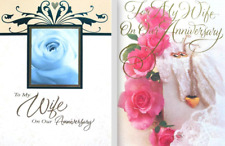 Romantic WIFE ANNIVERSARY CARD White Rose / Pink Roses CLASSIC