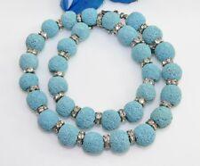 Halskette Kette Collier  natur Lava  Perlen 12mm türkis Strass klar  485r