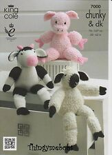 KING COLE 7000 FARMYARD COLLECTION ORIGINAL KNITTING PATTERN - COW/PIG/SHEEP