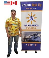 """34"""" Retractable Banner Stand Trade Show Display Pop Up Wall Sign + CUSTOM PRINT"""