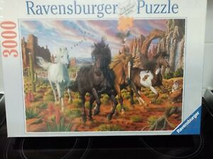 """RAVENSBURGER 2006 """" HORSES IN CANYON """"  3000 PC PUZZLE NEW IN WRAPPING"""