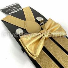 Suspender and Bow Tie Adults Men Metallic Gold Wedding Formal Wear Accessories