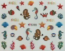 Nail Art 3D Decal Stickers Shells Fish Mermaid Sea Horse Crab Beach E255