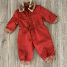 Vintage 50s 60s Child's Mechanic Coveralls Snowsuit Talon Red 12-18 Months