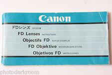 Canon FD Prime Lens Instruction Manual Book English Ja De Fr Esp - USED B66 UG