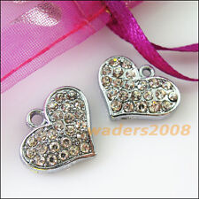 2 New Heart Charms Crystal Dull Silver Pendants Craft DIY 14x18mm