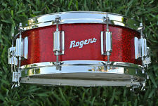 1964 Rogers RED SPARKLE Wooden Dynasonic SNARE DRUM for YOUR DRUM SET! #A822