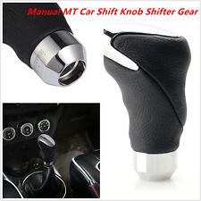 1PC Universal Black Leather Metal Chrome Car Auto Shifter Gear Knob Head Manual