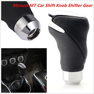 1PC Universal Black Leather Metal Chrome Car Auto Shifter Gear Knob Head Manual