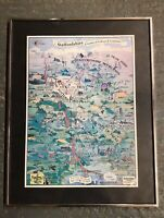 Vintage Framed Map Staffordshire County Council Poster