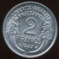 2 FRANCS  morlon alu 1947 B ( SPL )