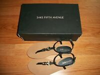 Saks Fifth Avenue Womens Jamie Jeweled Leather Sandals 7 7.5 NIB $105