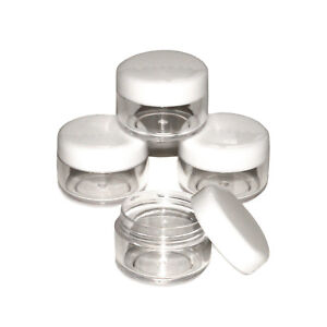 50 x 5ml white lid Screw Top Craft Pots -for Glitter, Lip Balm, Samples jhw-50