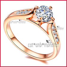 18K ROSE GOLD GF LADIES GIRLS SOLID 1CT CATHEDRAL WEDDING ETERNITY CRYSTAL RING