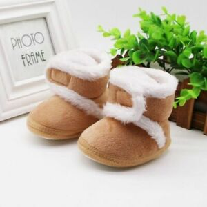 Toddler's Winter Warm Boots Sole Fur Snow First Walkers Baby Shoes Or 0-18m