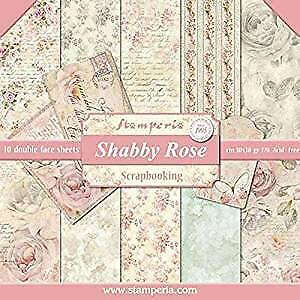 """Stamperia Double-Sided Paper Pad 12""""X12"""" 10/Pkg-Shabby Rose, 10 Designs/1 Each"""