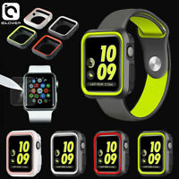 Tempered Glass Screen Protector+Silicon Bumper Case For Apple Watch Series 5 4 3