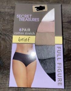 Secret Treasures ~ 6-Pair Women's Brief Underwear Panties Cotton Blend ~ 3X/13