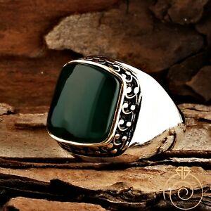 Green Agate Engagement Ring Natural Aqeeq Stone Taurus Mens Vintage Silver Bands