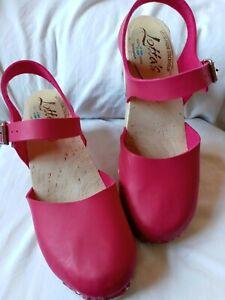 """Lotta's Stockholm Sweden Wooden Clogs Ankle Strap Sandals Size 41 US 10 heel 3"""""""
