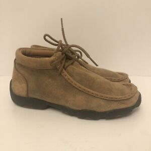 Youth Twisted X Driving Mocs Bomber Brown Leather Boys Size 3 YDM0001
